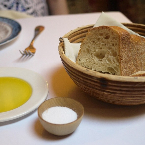 Bread, salt and olive oil - Evvia, Palo Alto, CA
