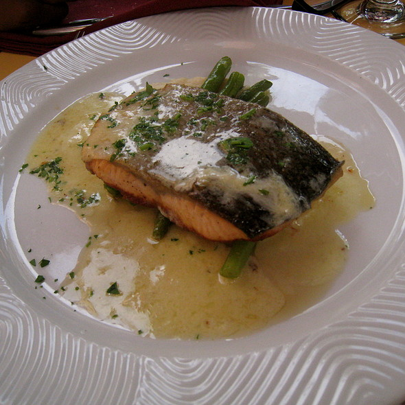 Grilled Salmon, celery-apple purée and green beans - La Voile, Boston, MA