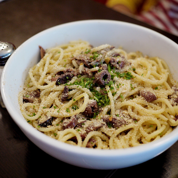 Spaghetti w/ Anchovies, Black Olives and Garlic Bread Crumbs - Fiat Cafe, New York, NY