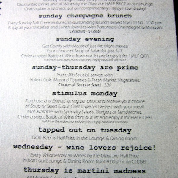 Specials - Salt Creek Grille - Rumson, Rumson, NJ