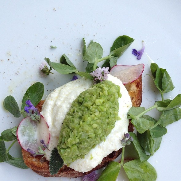 Favas And Peas, Ricotta Cheese, Wave Hill Toast, Pea Tendrils And Radishes - The Schoolhouse at Cannondale, Wilton, CT