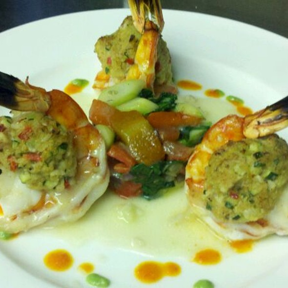Seared Shrimp With Crab Meat Mix Veggies Garlic Lemon Sauce - La Catena, Bridgewater, NJ