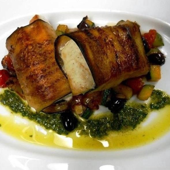 Eggplant Wrapped Swordfish With Kalamata Olive, Zucchini Tomato Ragù, Pesto Purée - Indigo Restaurant, Fort Lauderdale, FL