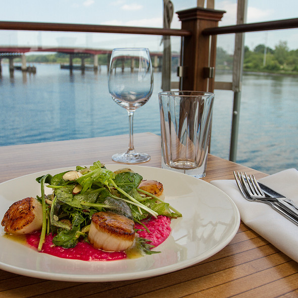 Pan Roasted Georges Bank Scallops, Roasted Beet Risotto on a Toasted Almond Pea Tendril Salad with Citrus Honey Vinaigrette - Waterman Grille, Providence, RI