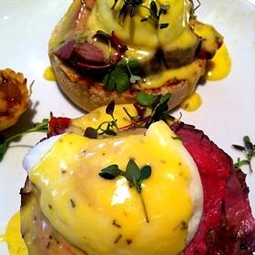 Filet Mignon Eggs Benedict - Fleming's Steakhouse - La Jolla, San Diego, CA