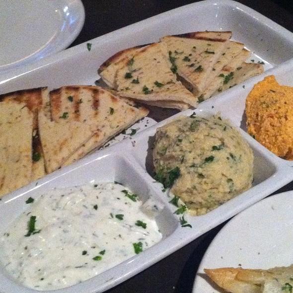 Pita With Tzatziki, Hummus, And Red Pepper Hummus - Taverna Plaka, Atlanta, GA