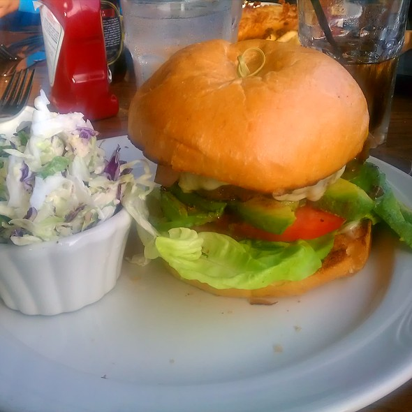 The Distillery Burger with avocado & swiss and a side of coleslaw - Moss Beach Distillery, Moss Beach, CA