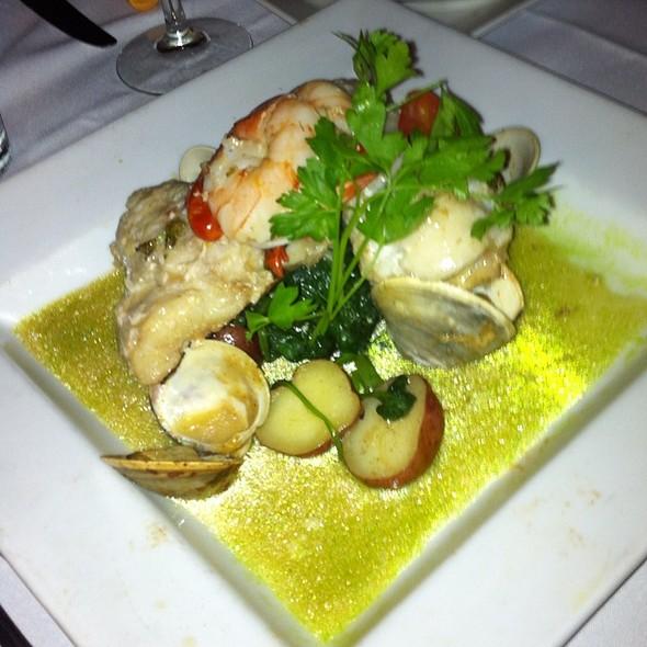 Hake With Shrimp And Clams, New Potatoes, Seafood Broth - Euno Ristorante, Boston, MA