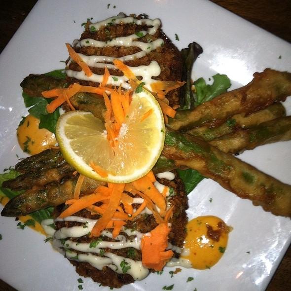 Crab Cakes With Tempura Asparagus - Mesa Street Grill, El Paso, TX