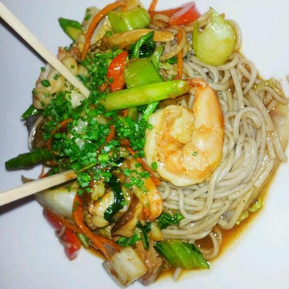 Jumbo Shrimp & Grilled Steak with Soba Noodles - West End Cafe, Carle Place, NY