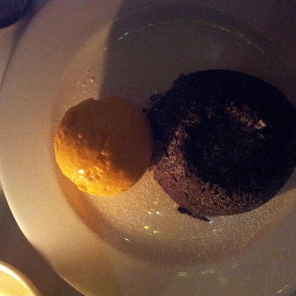 Chocolate Cake With Orange Ice Cream  - The Wet Fish Café, London