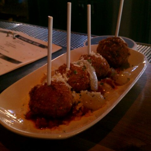 Meatball Lollipops In Marinara Sauce - The Belvedere Room at The Padre Hotel, Bakersfield, CA