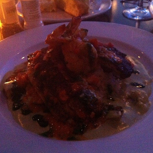 Blackened Redfish Atop Poblano Cream - Saltwater Grill, Galveston, TX