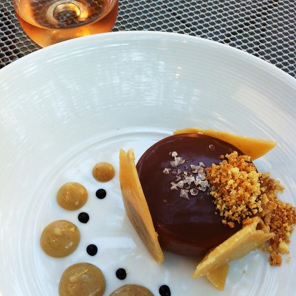 Chocolate Fondant, Caramel Glaze, Hazelnut Streusel, Banana Coulis - Catalyst Restaurant, Cambridge, MA