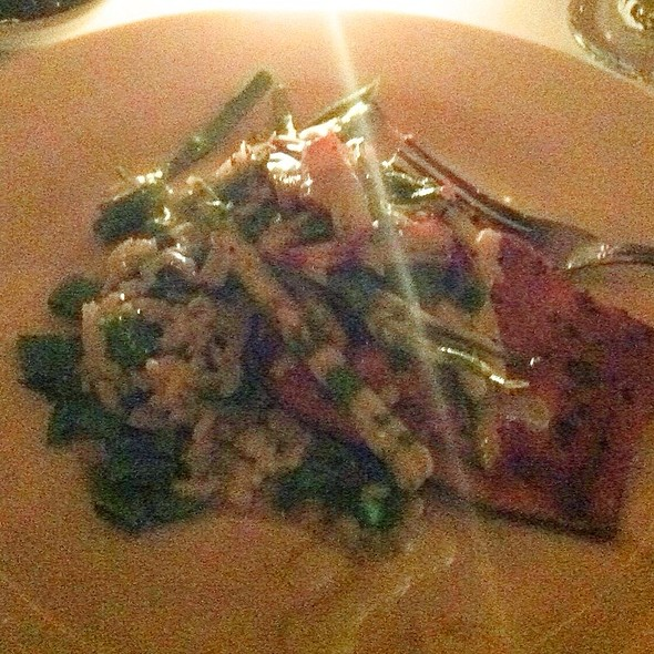 Grilled Sockeye Salmon With Snap Pea Risotto Shaved Asparagus Radish Salad - Lavagna, New York, NY