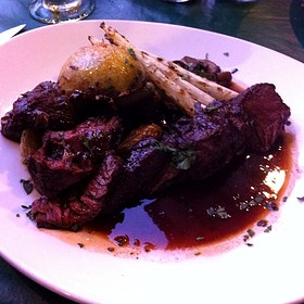 Hanger Steak With Red Wine Reduction, Mushrooms, Fingerling Potatoes - Toscanini, Avon, CO