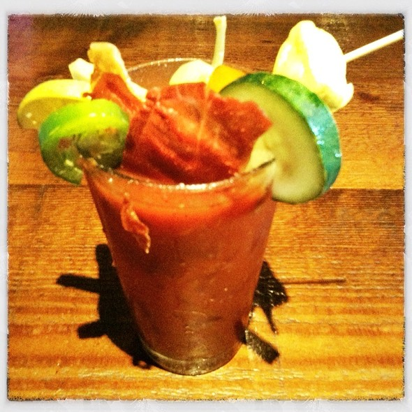 Bloody Mary With Grilled Prosciutto - Café 21 – Gaslamp, San Diego, CA