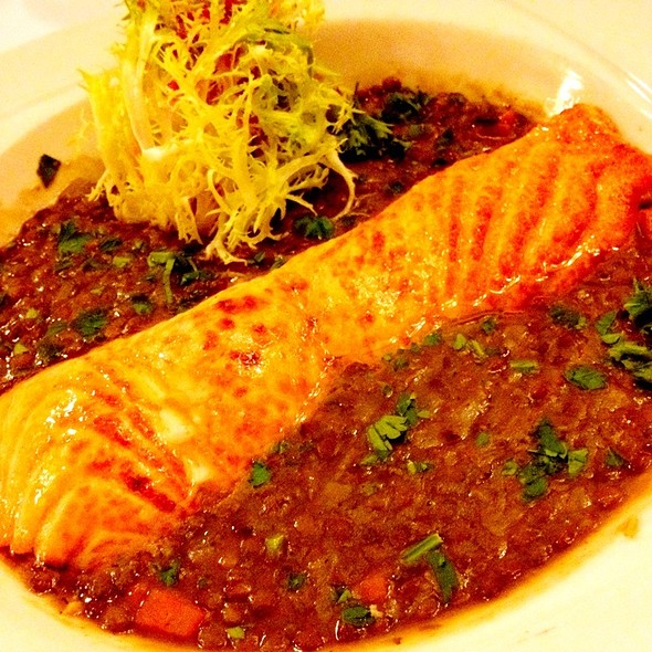 Broiled Salmon With Vegetarian Lentil Stew - Sardi's, New York, NY