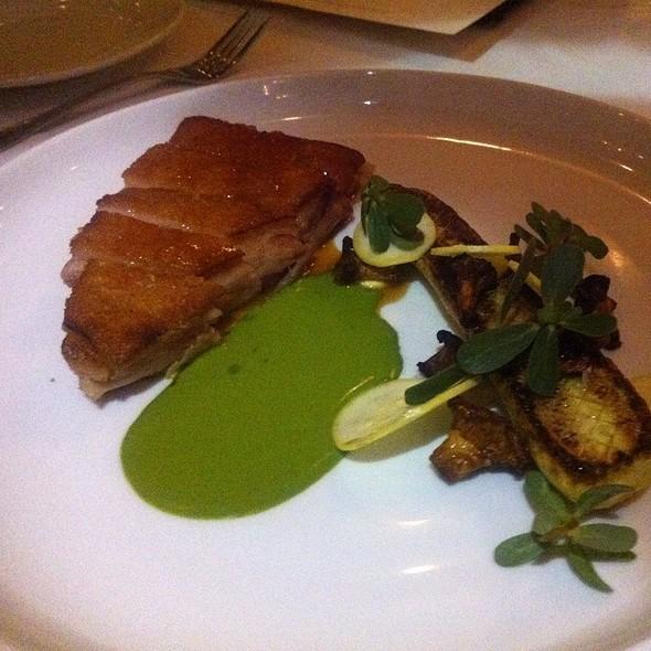 Pork Belly, Zephyr Squash, Chanterelles, Purslane, Herb Purée - The Dorrance, Providence, RI