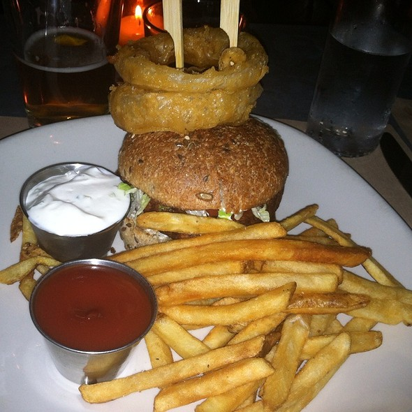 Veggie Burger with Onion Rings - Burger and Barrel, New York, NY