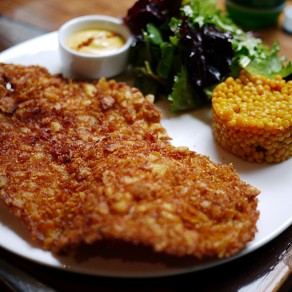 Corn flake crusted chicken Schnitzel - Balaboosta, New York, NY