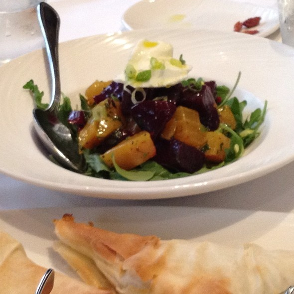Red And Yellow Beet Salad With Arugula And Pistachios - Lithos Estiatorio, Livingston, NJ
