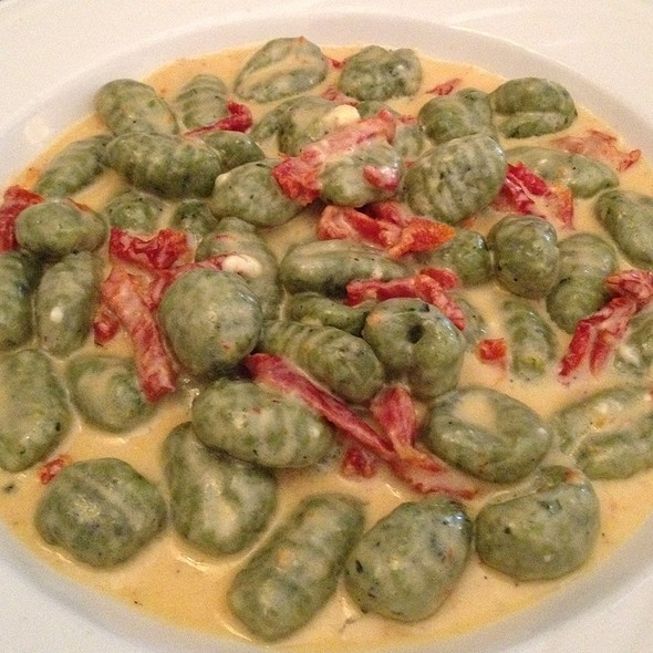 Spinach Gnocchi With Sun Dried Tomatoes In Gorgonzola Cream Sauce - Ralph's Italian Restaurant, Philadelphia, PA
