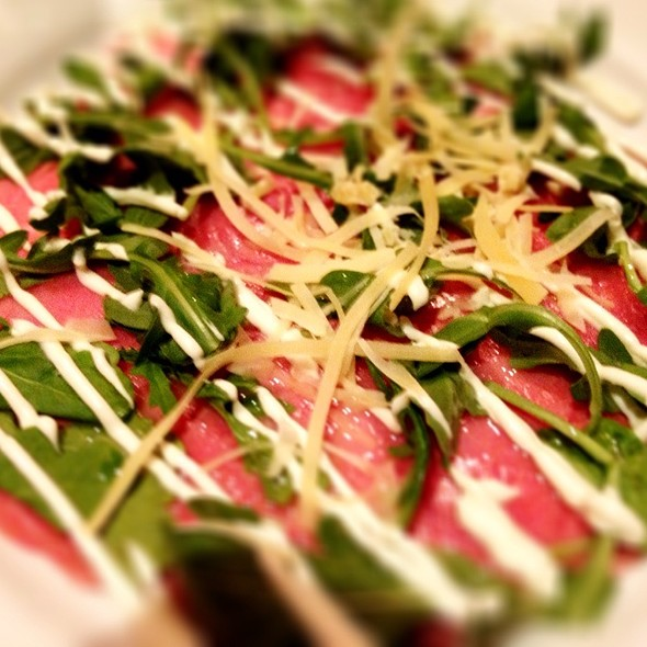 Beef Caraccio With Truffle Oil, Arugula, And A Sauce I Cannot Name But Was Delicious, And Solid Aged Parmesan - La Bottega - Vail, Vail, CO
