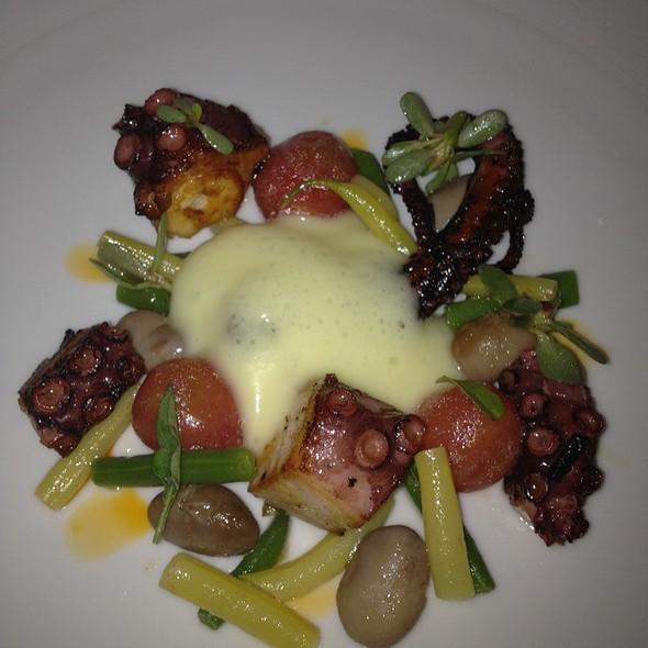 Charred Octopus, Fermented Black Bean - Pear Sauce Vierge Ink & Miso Vinaigrette, Purple Basil - Nordeen, Toronto, ON
