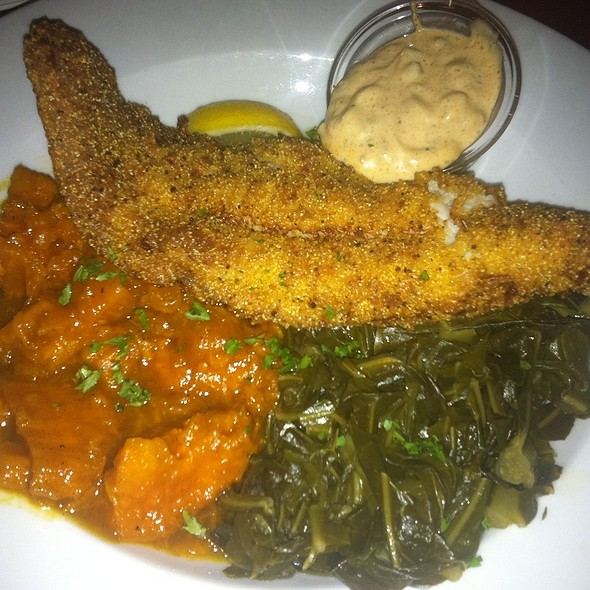 Fried Catfish W/Collard Greens And Yams - Darryl's Corner Bar and Kitchen, Boston, MA