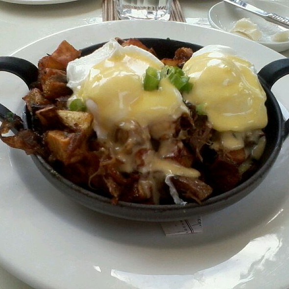Duck Confit Hash With Poached Eggs - Print Works Bistro, Greensboro, NC