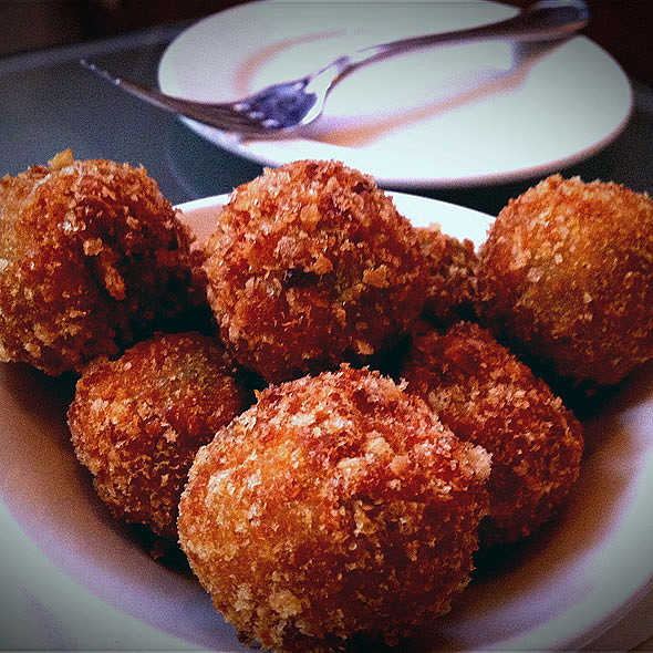 Deep Fried Olives stuffed w/ sausage - Emeril's Delmonico, New Orleans, LA
