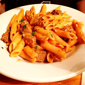 Penne With Voka Sauce And Steak Tips - Renaissance Cafe, Assaria, KS