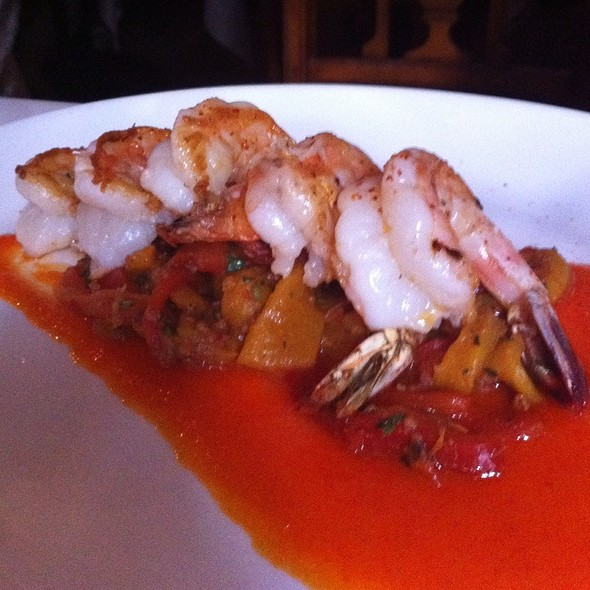 Shrimp Over Chorizo Sausage And Peppes - La Mangeoire, New York, NY