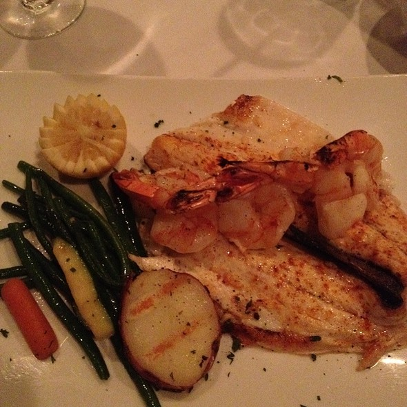 Sea Bass With Shrimp & Veggies - Cafe Avanti Restaurant, Miami Beach, FL