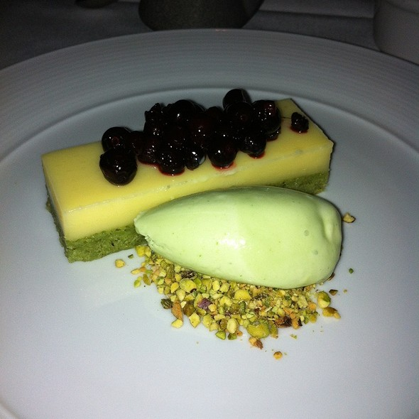 Pistachio Cake With Huckleberries, Yuzu Curd, And Basil Ice Cream - Bluehour, Portland, OR