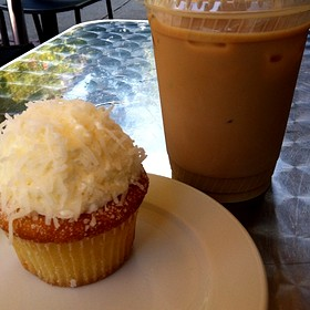 Coconut Cupcake With Iced Latte - South End Buttery, Boston, MA