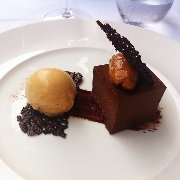 Chocolate Marquise, Peanut Butter & Salted Caramel Ice Cream - La Trompette, London