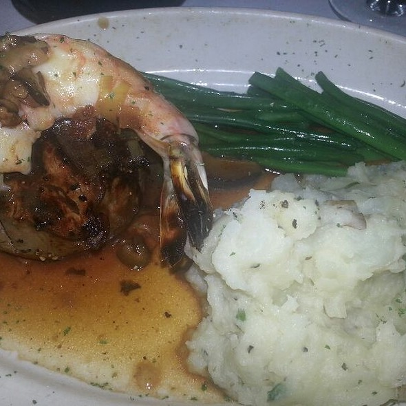 Filet with Smoked Mushroom Ragoût & Jumbo Grilled Shrimp  - Pappas Bros. Steakhouse, Dallas, TX