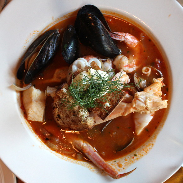 Cioppino with White Gulf Shrimp, Local Fish, Dungeness Crab, Clams, Mussels and Calamari - Cabezon Restaurant, Portland, OR