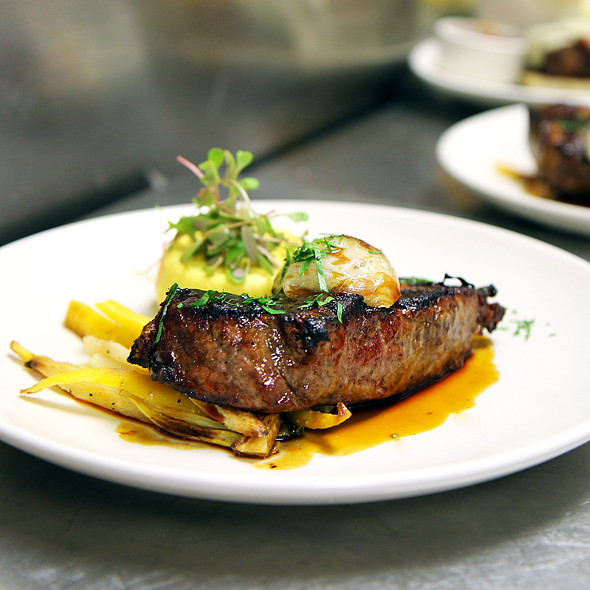 Grilled sirloin steak, corn flan, spring onion, roasted carrots, pea shoots, bordelaise sauce - Print Restaurant, New York, NY