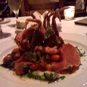Crispy Softshell Crab, Heirloom Tomatoes, Country Ham & Garden Basil Pistou - La Provence, Lacombe, LA