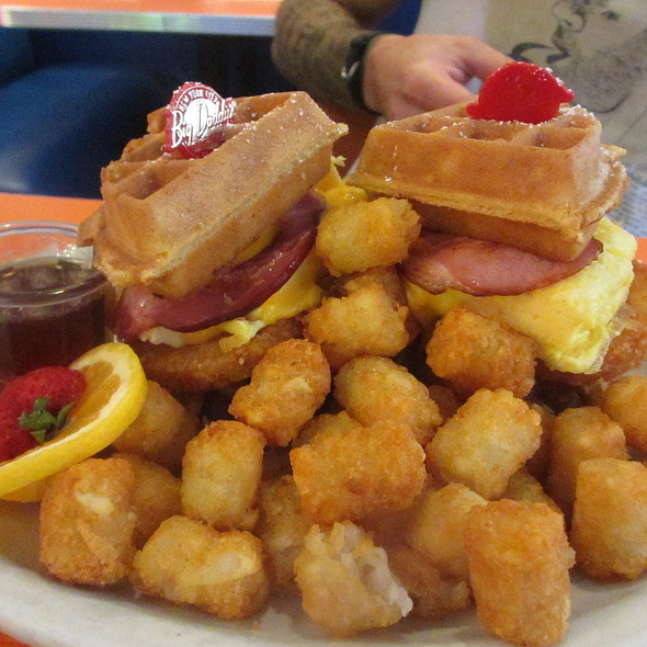 Bow Wow Wow - Waffles Breakfast Sandwich with Scrambled Eggs, Canadian Bacon, Hash Browns and Tater Tots - Big Daddy's – Upper West Side, New York, NY