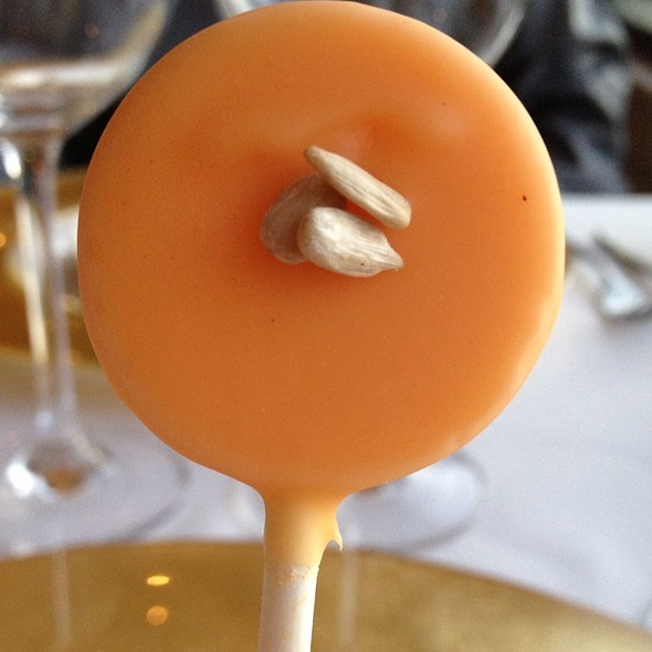 Carrot Veloute Lollipop With White Choloate - Q Haute Cuisine (formerly La Caille), Calgary, AB