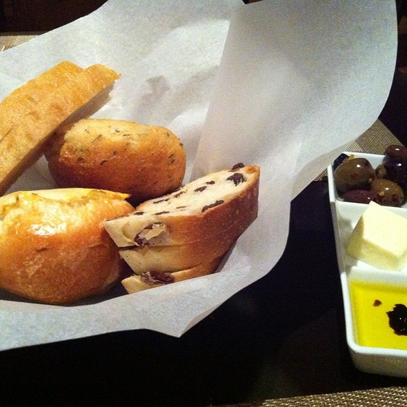 Bread Basket With Spreads And Housemade Spicy Orange Olives - SEAR, Atlanta, GA