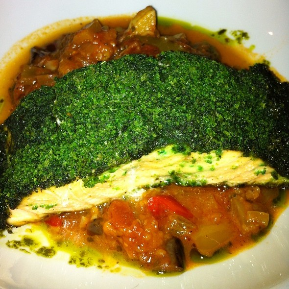 Basil-Crusted Salmon With Ratatouille - Perrys, Washington, DC