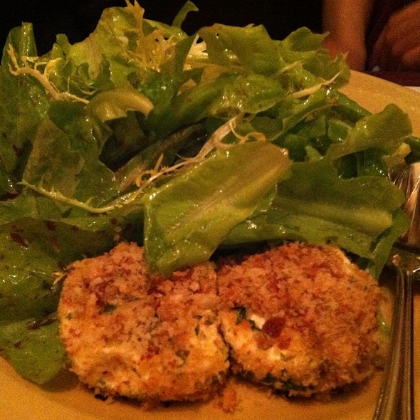 Baked Andante Dairy goat cheese with garden lettuces - Chez Panisse Cafe, Berkeley, CA