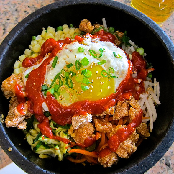 Dol Sot Bi Bim Bap <Signature Hot Stone Rice Bowl served at 500 degrees>/ Seasonal Vegetables/ Sunny Side Up Egg/ Steamed White Rice/ Fried Chicken - Stone Korean Kitchen, San Francisco, CA