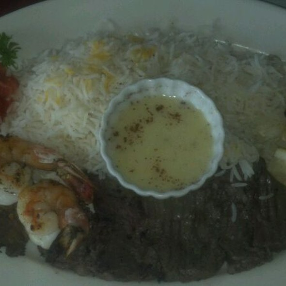 Surf And Turf Marinated Fillet And Jumbo Prawns - Skewers Kabob House, Modesto, CA