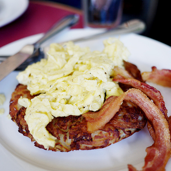 Rosti with Scrambled Eggs and Bacon - Cervantes' Oyster Shack, New York, NY